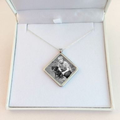 Memorial Necklace with Photo, Diamond Pendant, Sterling Silver Chain | Someone Remembered